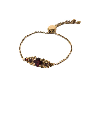 Rosina Slider Bracelet in Antique Gold-tone Mighty Maroon