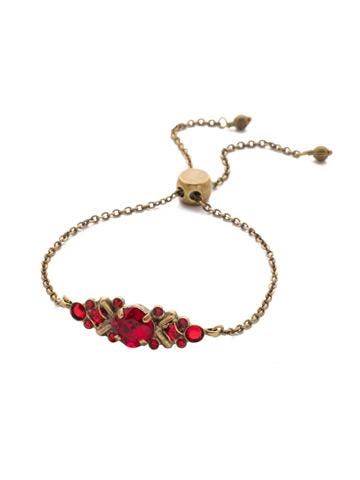 Rosina Slider Bracelet in Antique Gold-tone Sansa Red