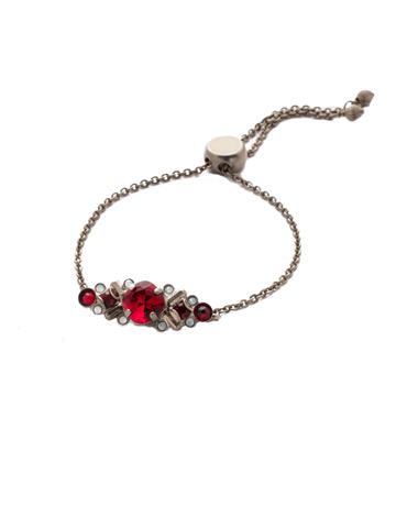 Rosina Slider Bracelet in Antique Silver-tone Crimson Pride