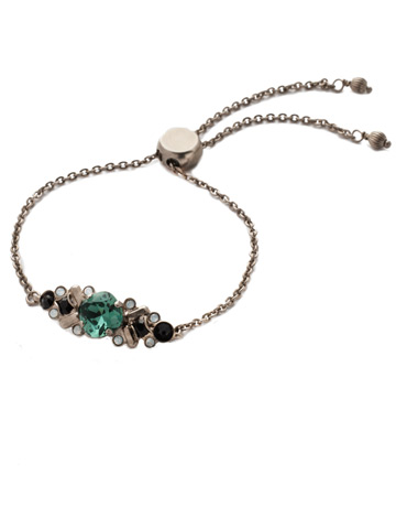 Rosina Slider Bracelet in Antique Silver-tone Game Day Green