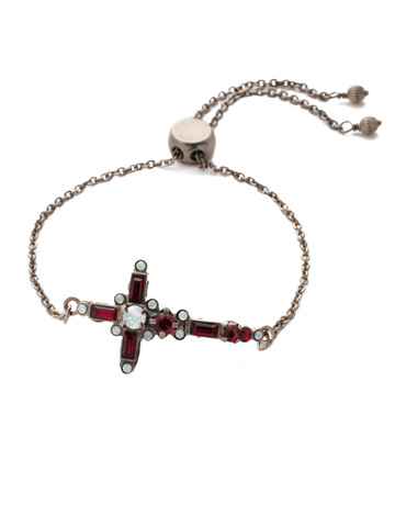 Venezia Slider Bracelet in Antique Silver-tone Crimson Pride