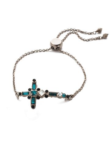 Venezia Slider Bracelet in Antique Silver-tone Game Day Green