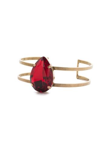 Ellaria Cuff Bracelet in Antique Gold-tone Sansa Red