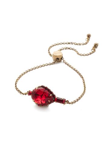 Lysa Slider Bracelet in Antique Gold-tone Sansa Red