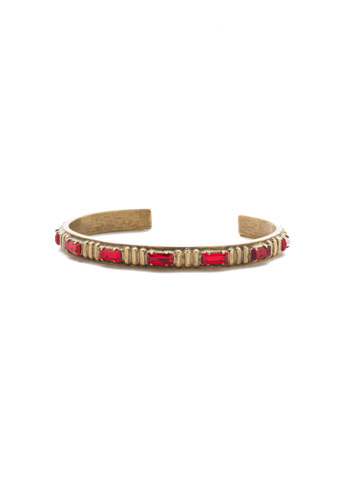Eira Cuff Bracelet in Antique Gold-tone Sansa Red