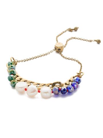 Brienne Slider Bracelet in Antique Gold-tone Game of Jewel Tones