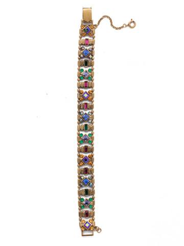 Lyanna Classic Line Bracelet in Antique Gold-tone Game of Jewel Tones