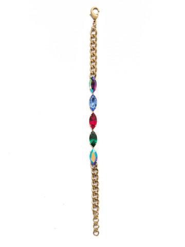 Miranda Line Bracelet in Antique Gold-tone Game of Jewel Tones