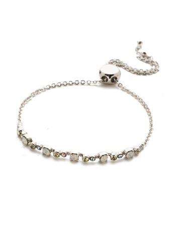 Glimmer Slider Bracelet in Rhodium Seersucker