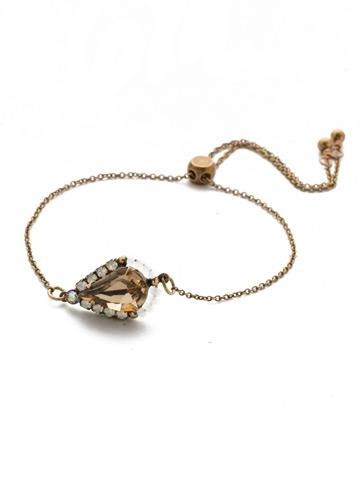 Delicate Drop Slider Bracelet in Antique Gold-tone Rocky Beach