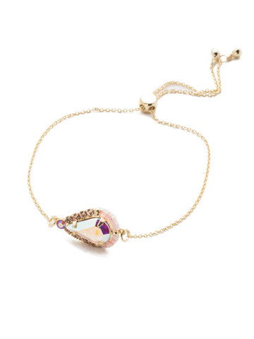 Delicate Drop Slider Bracelet in Bright Gold-tone Island Sun
