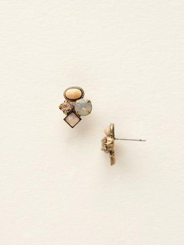 Small Cluster Earring in Antique Gold-tone Desert Sun