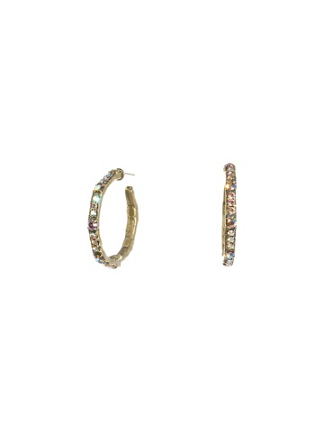 Classic Rhinestone Crystal Hoop Earring in Antique Gold-tone Smitten