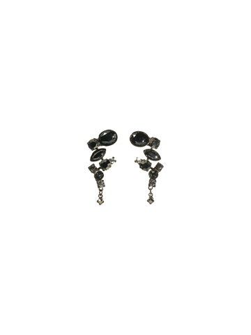 Crystal and Opaque Stone Classic Drop Earrings in Gun Metal Midnight Moon