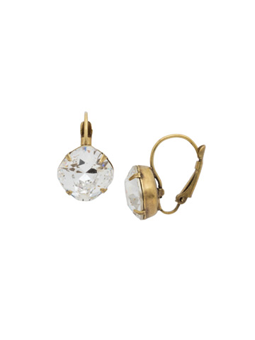 Single Drop Crystal Earring in Antique Gold-tone Crystal