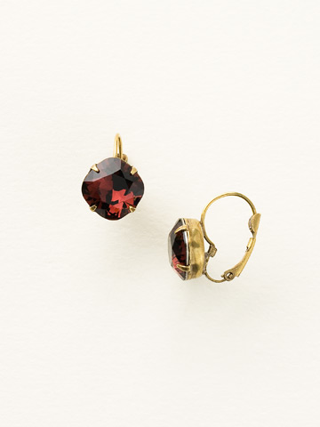 Single Drop Crystal Earring in Antique Gold-tone Sangria