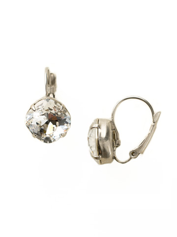 Single Drop Crystal Earring in Antique Silver-tone Crystal