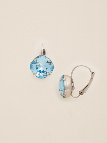 Single Drop Crystal Earring in Antique Silver-tone Electric Blue