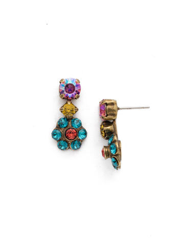 Crystal Flower Drop Earring in Antique Gold-tone Happy Birthday