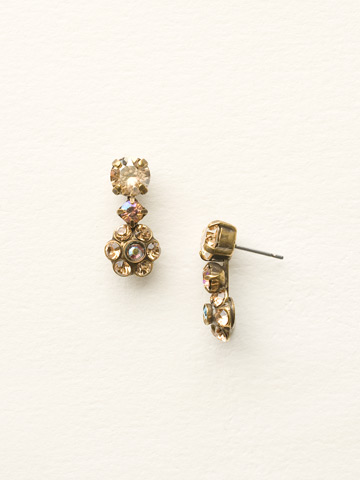 Crystal Flower Drop Earring in Antique Gold-tone Neutral Territory