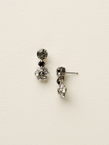 Crystal Flower Drop Earring in Antique Silver-tone Midnight Moon