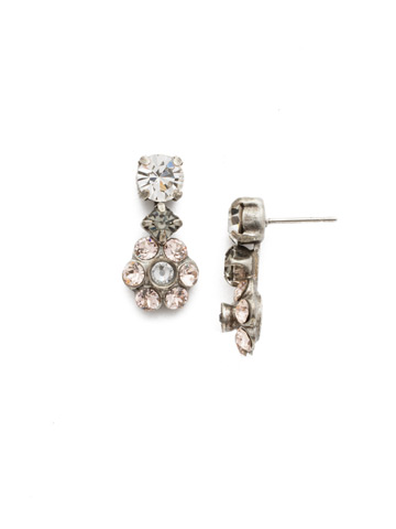 Crystal Flower Drop Earring in Antique Silver-tone Snow Bunny