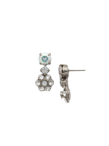 Crystal Flower Drop Earring in Antique Silver-tone White Bridal