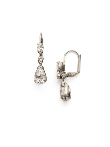 Classic Teardrop French Wire Earring in Antique Silver-tone Snow Bunny