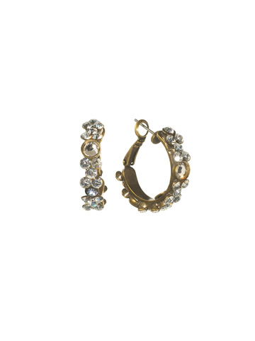 Floral Hoop Earring in Antique Gold-tone Crystal