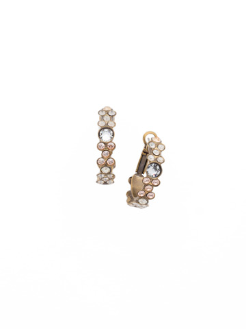 Floral Hoop Earring in Antique Gold-tone Neutral Territory