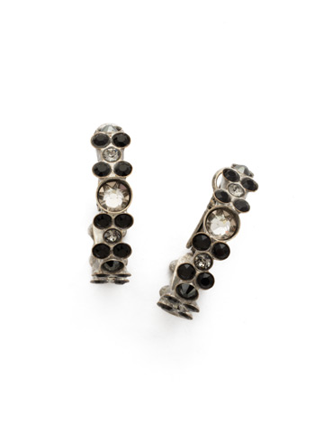 Floral Hoop Earring in Antique Silver-tone Black Onyx