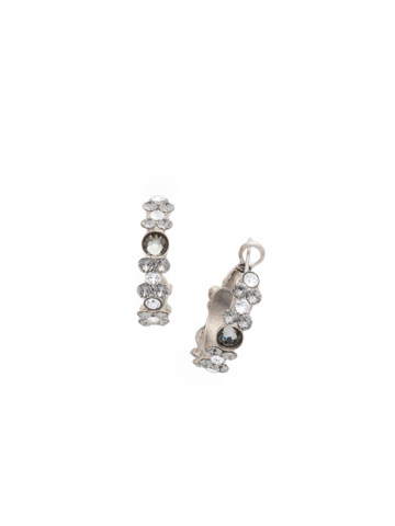 Floral Hoop Earring in Antique Silver-tone Crystal Rock