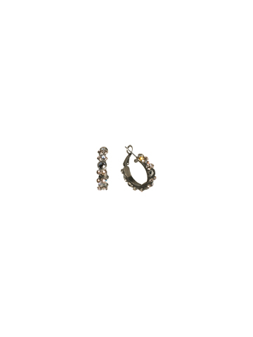 Floral Hoop Earring in Antique Silver-tone Snow Bunny