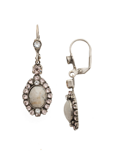 Crystal and Cabochon Drop Earring in Antique Silver-tone Snow Bunny