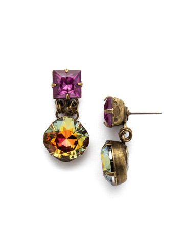 Bold Crystal Drop Earring in Antique Gold-tone Volcano