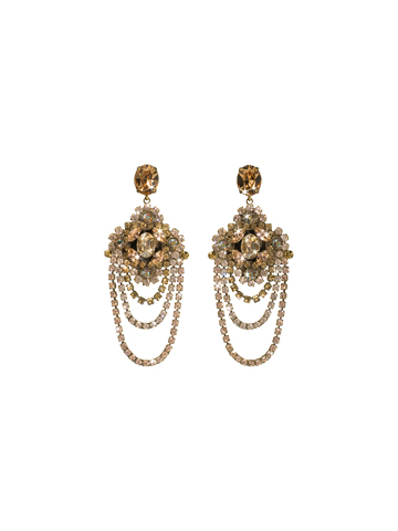 Crystal Chandelier Earrings Statement Earring in Antique Gold-tone Raw Sugar
