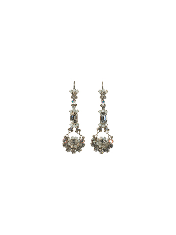 Crystal French Wire Earrings in Antique Silver-tone White Bridal
