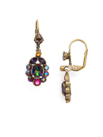 Crystal and Cabochon Cluster Drop Earring in Antique Gold-tone Volcano