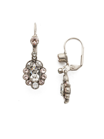Crystal and Cabochon Cluster Drop Earring in Antique Silver-tone Snow Bunny