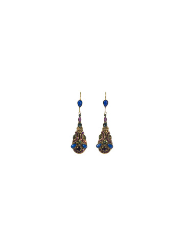 Tear Drop Shaped Crystal Drop Earring in Antique Gold-tone Aurora Sky
