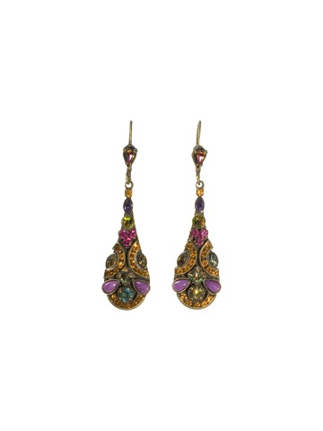 Tear Drop Shaped Crystal Drop Earring in Antique Gold-tone Volcano