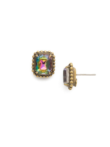 Scalloped Emerald Cut Stud Earring in Antique Gold-tone Volcano