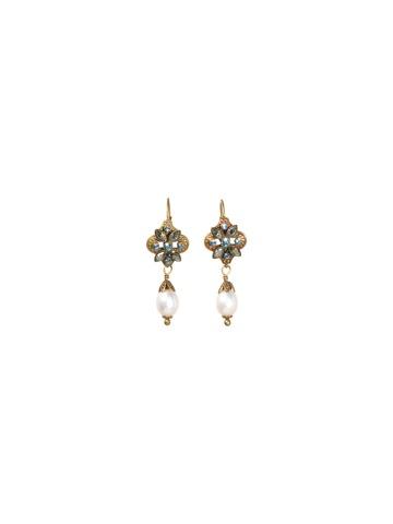 Floral Fantasy Earring in Antique Gold-tone Aqua Bubbles