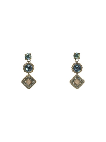 Sorrelli Earrings in Antique Gold-tone Aqua Bubbles