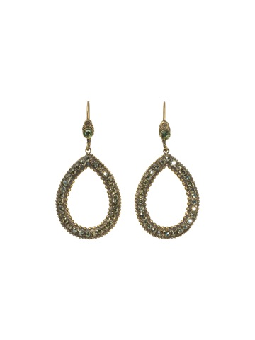 Statement Tear Drop Earring in Antique Gold-tone Aqua Bubbles