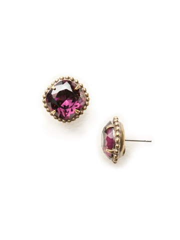 Cushion-Cut Solitaire Earring in Antique Gold-tone Amethyst