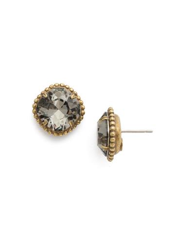 Cushion-Cut Solitaire Earring in Antique Gold-tone Black Diamond