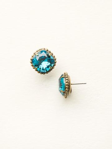 Cushion-Cut Solitaire Earring in Antique Gold-tone Blue Topaz