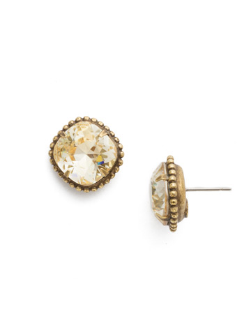 Cushion-Cut Solitaire Stud Earrings in Antique Gold-tone Crystal Champagne