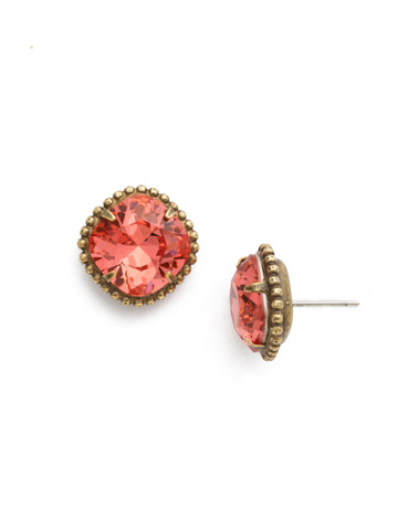 Cushion-Cut Solitaire Stud Earrings in Antique Gold-tone Coral